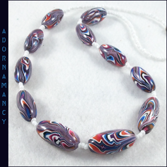 Polymer Clay Bead Necklace: Crazy Flames