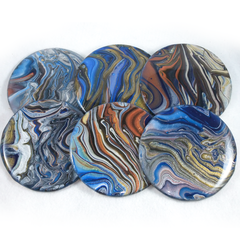 Set of 6 Resin Coated coasters in metallic colours