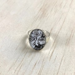 """Faces"" Oval Ring - Adjustable - Silver Plated - Glass Cabochon - Unique"
