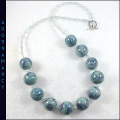 Polymer Clay Bead Necklace: Extra Glittery Aqua