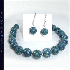Polymer Clay Bead Necklace: Teal Ocean Ripples.  Matching earrings.