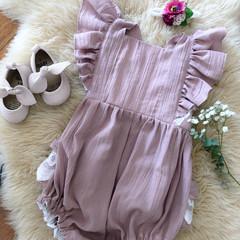 BLUSH CRUSHED LINEN & LACE  ROMPER, Sz 0