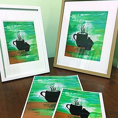 Framed steaming coffee Print - 2 sizes available