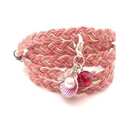 Dusty Pink Braided Hemp Bracelet, Wrap Bracelet, Casual Bracelet, Beach Inspired