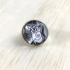 """Faces"" Ring - Adjustable - Silver Plated - Glass Cabochon - Unique & original"