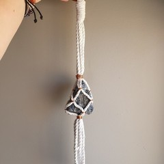 Sodalite Crystal and Copper Macrame Hanger