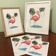 Framed Flamingo Print -  2 sizes available