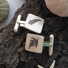 Handmade sterling silver etched cufflinks