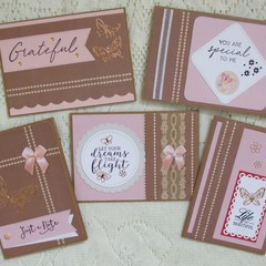 Set of 5 Handmade Notecards - Lace 'n' Pearls