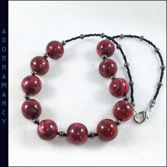 Polymer Clay Bead Necklace: Big Swirly Reds