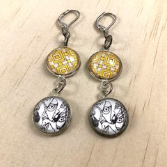 """Faces"" Earrings - Yellow - 7cm - Silver Plates - Glass Cabochon - Leverback"