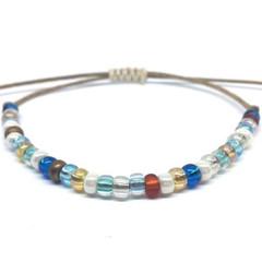 Adjustable Friendship Bracelet,Stack Bracelet, Minimalist - Blue
