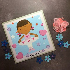 'Cutie Pie Ballerina' Silver Pearlised Birthday Card