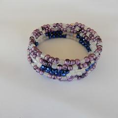 Wrap Bracelet in Purple, White & Blue
