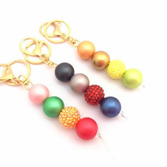 Colourful Chunky Keychain, Beaded Keyring, Bag Charm, Bag Bling