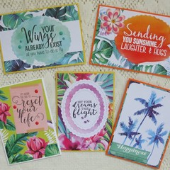 Set of 5 Handmade Notecards - Tropical