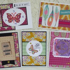 Set of 5 Notecards - Boho