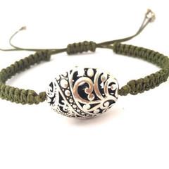 Adjustable Bracelet - Forest Green, Macrame Bracelet, Silver Charm Bracelet