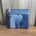 Upcycled Denim coin purse - Heart