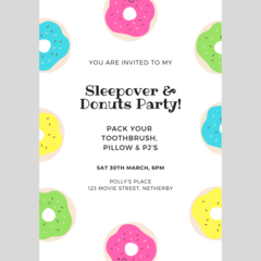 INVITATION - CUSTOMISED PRINTABLE DOWNLOAD, PYJAMA PARTY