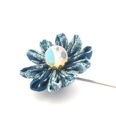 Blue Flower Suit Pin, Fabric Flower Lapel Pin for Men and Woman, Boutonnière