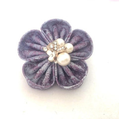 Lavender Fabric Flower Brooch, Fabric Pin, Lapel Pin, Brooch for Women