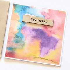 Believe watercolour and wood card Junior Artist