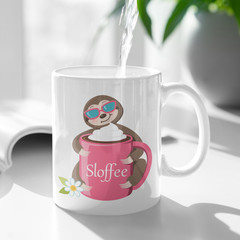 Sloth Sloffee Cute Cup Ceramic Personalised Coffee Tea Mug - CM008