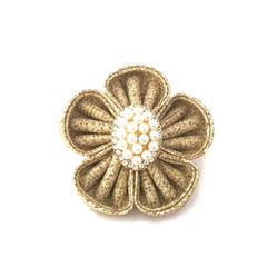 Fabric Flower Pin, Kanzashi Flower Brooch, Brooch with Pearls, Rhinestone Brooch