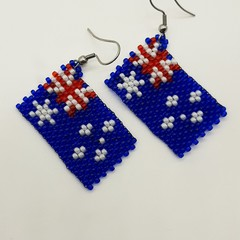 Australian Flag Beaded Earrings Australia Day Ozzie Day