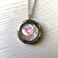 Floating Swarovski/Vintage china Pendant