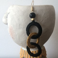 3 Hoop Crochet Earrings - Black & Mustard