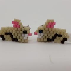 Easter Rabbit Beaded Stud Earrings