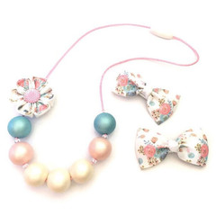 Blue and Pink Chunky Beaded Necklace -  Mummy and Me Set, Floral Hair Clips