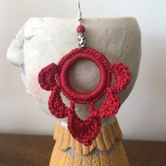 Hoop Scallop Crochet Earrings - Lipstick Red