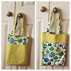 Handy Tote Bag - Green Apples - Totally Reversible