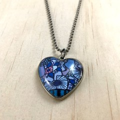 """Winter Garden"" Heart Pendant - Antique Silver Alloy - Cabochon -Unique creation"