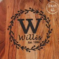 Personalised Etched Timber Acacia Boards - The Willis Wreath Board