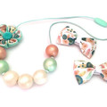 Rose Gold and Mint Chunky Beaded Necklace Mum or Bub, Hair Clips for Girls