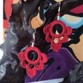Hoop Scallop Crochet Earrings - Lipstick Red