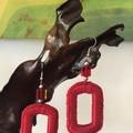 Rectangular Crochet Earrings - Lipstick Red