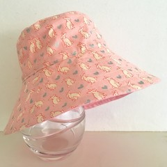 Girls summer hat in bunny fabric