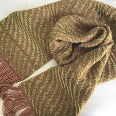 Pure Wool Scarf, Handwoven, Hand Dyed, 22 micron merino wool