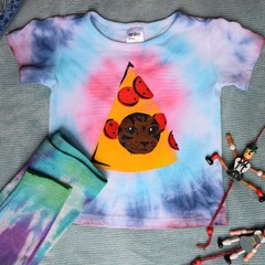 Pizza Cat - Baby Size 0 Tie Dye Shirt and Leggings Set