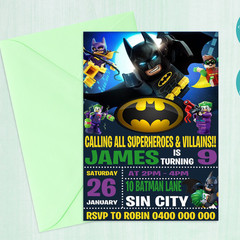Batman Lego Inspired Birthday Party Invitation || Digital Copy || Custom ||