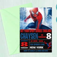 Spiderman Inspired Birthday Party Invitation || Digital Copy || Custom ||