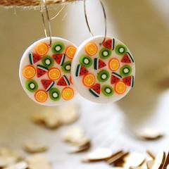 Fruity Hoop Dangle Earrings