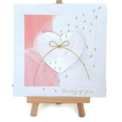 Handmade Pink Heart Goldspray Greeting Birthday Card