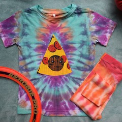 Pizza Cat - Baby Size 2 Tie-Dye Shirt and Leggings Set