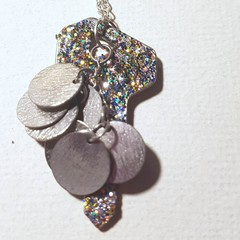Upcycle Pendent necklace, recycled key, silver glitter and Tibetan silver discs,